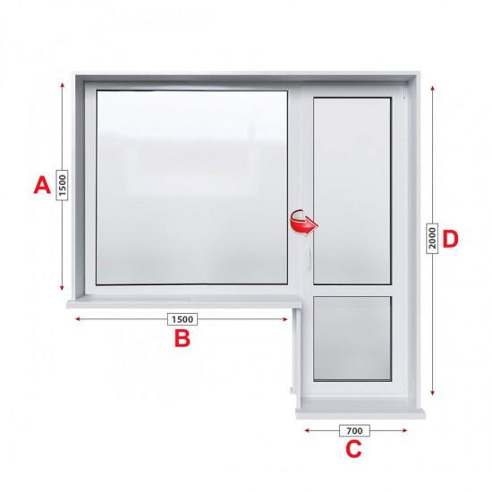 Алуминиева дограма Alumil M 11000 термо с балконска врата 220/150 см