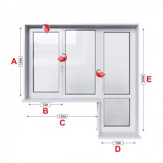 Алуминиева дограма Alumil M 11000 термо с крило и врата 205/135 см