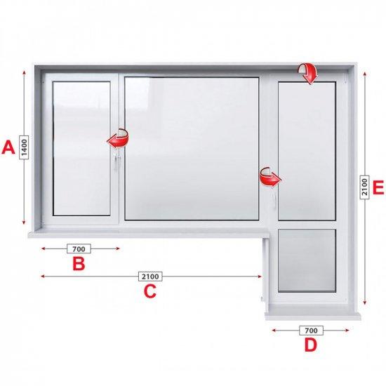 Алуминиева дограма Alumil M 11000 термо с крило и врата 280/140 см