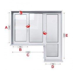 Алуминиева дограма Etem E 45 термо с крило и врата 205/135 см