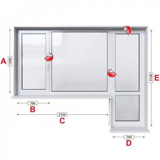 Алуминиева дограма Etem E 45 термо с крило и врата 280/140 см