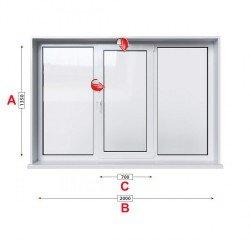 Алуминиева дограма Etem E 45 термо със средно крило 200/135 см