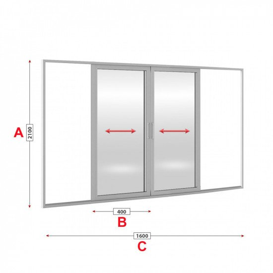 Алуминиева врата Etem E 1600 студен профил 160/210см
