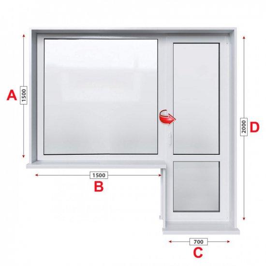 Балконски прозорец (пистолет) Kommerling 76 мм с балконска врата 220/150 см