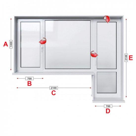 Балконски прозорец (пистолет) Kommerling 76 мм с крило и врата 280/140 см