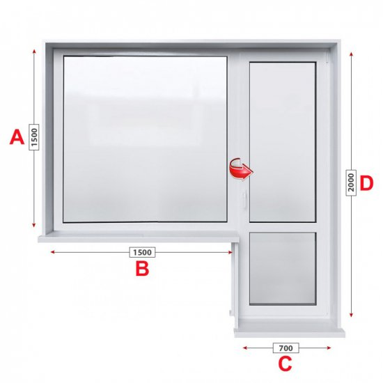 Балконски прозорец (пистолет) Rehau Euro-Design 60 - 60 мм с балконска врата 220/150 см