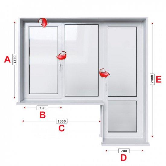 Балконски прозорец (пистолет) Rehau GENEO с крило и врата 205/135 см