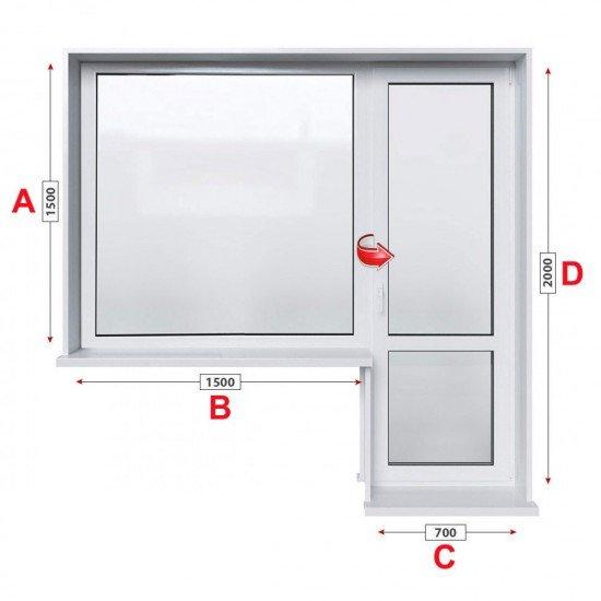 Балконски прозорец (пистолет) Trocal 88+ мм с балконска врата 220/150 см