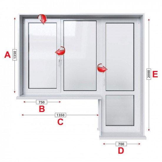 Балконски прозорец (пистолет) Trocal Classic 76 мм с крило и врата 205/135 см