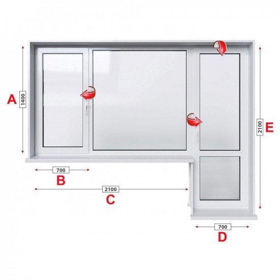 Балконски прозорец (пистолет) Trocal 88+ мм с крило и врата 280/180 см