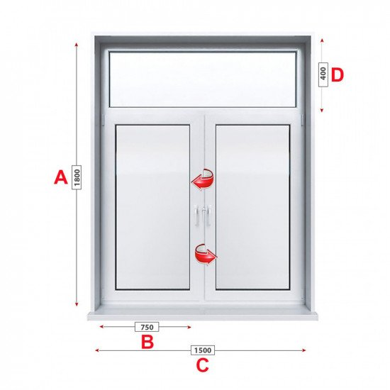 Кухненски прозорец Trocal ECONOMY – 70MM двоен с две крила