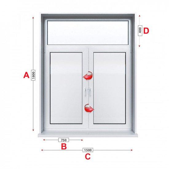Кухненски прозорец Trocal PRESTIGE 88+ /88 MM/ двоен с две крила