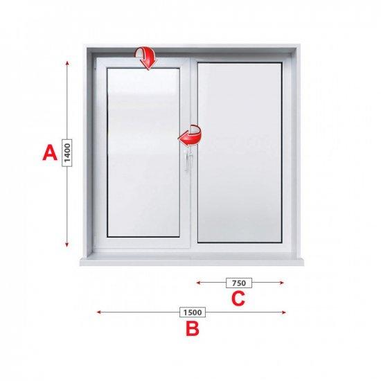 Кухненски прозорец двоен Aluplast Ideal 4000 - 70 мм с едно крило 150/140 см
