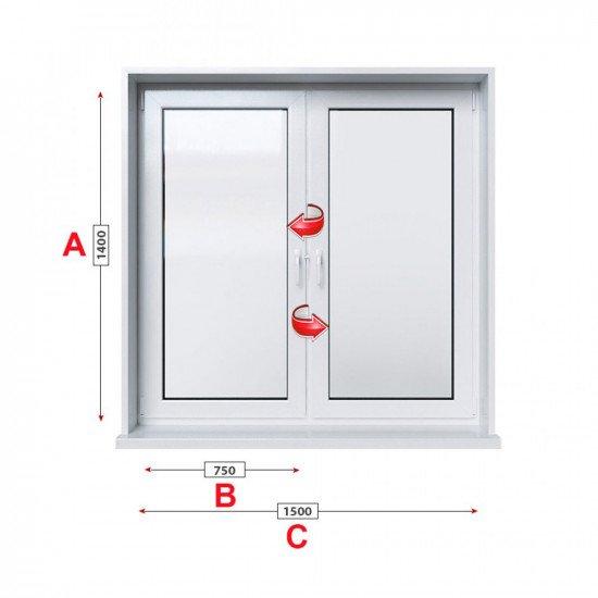 Кухненски прозорец двоен Trocal ECONOMY – 70 мм с две крила