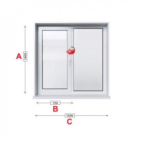 Кухненски прозорец двоен Trocal ECONOMY – 70 мм с едно крило
