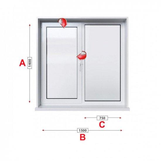 Кухненски прозорец двоен Baufen Ultima 70 - 70 мм с едно крило 150/140 см