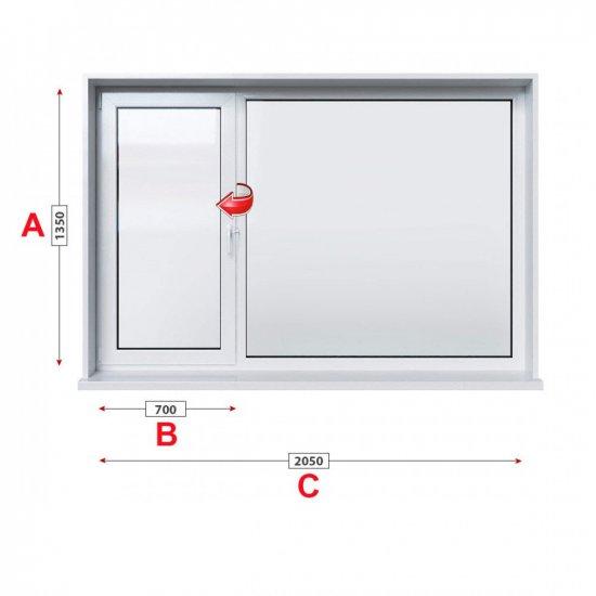 Кухненски прозорец двоен Baufen Ultima 70 - 70 мм с ляво крило 205/135 см