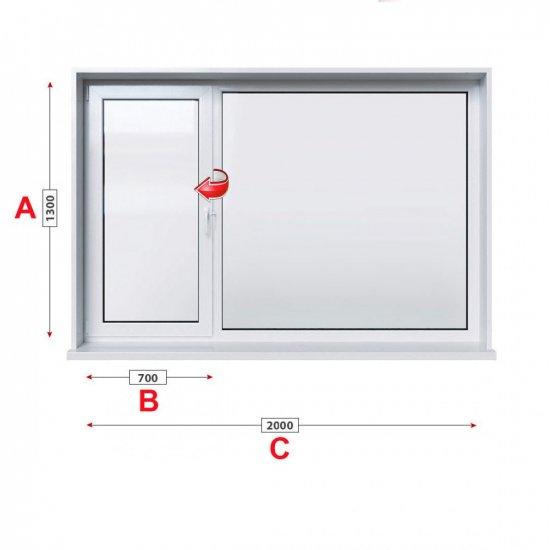 Кухненски прозорец двоен KMG Prestige 60 - 60 мм с ляво крило 200/130 см