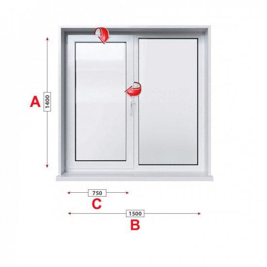 Кухненски прозорец двоен Profilink Classic 4 - 60 mm с едно крило 150/140 см