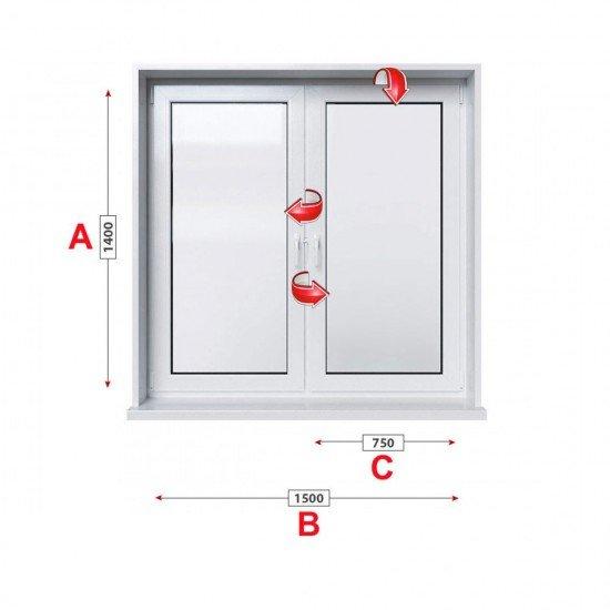 Кухненски прозорец двоен Trocal Economy 70 мм с две крила 150/140 см