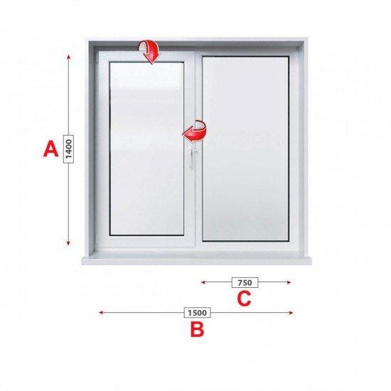 Кухненски прозорец двоен Trocal Economy 70 мм с едно крило 150/140 см