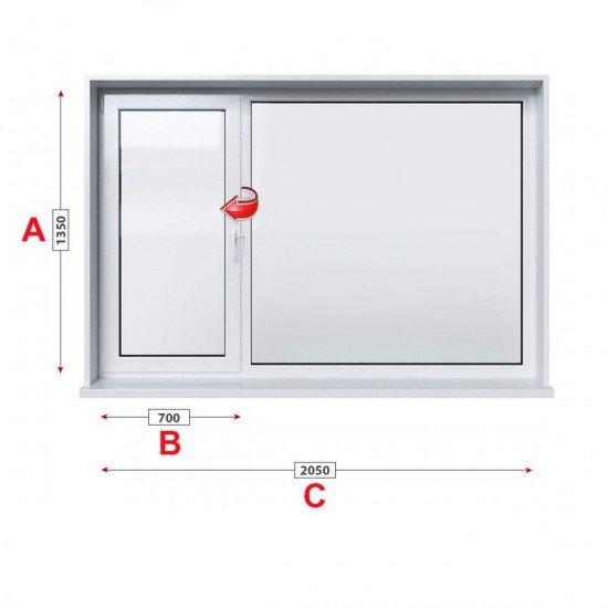 Кухненски прозорец двоен Trocal Economy 70 мм с ляво крило 205/135 см