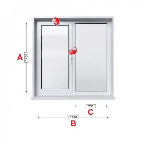 Кухненски прозорец двоен Veka Softline 70 - 70 мм с едно крило 150/140 см