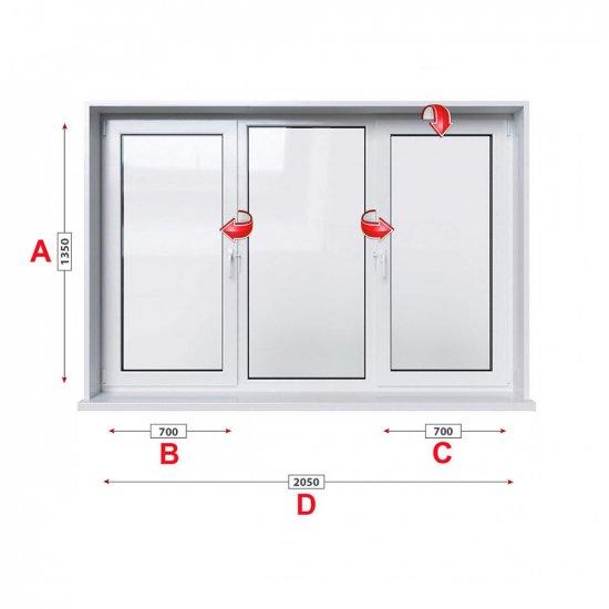 Кухненски прозорец троен Aluplast Ideal 4000 - 70 мм с две крила 205/135 см