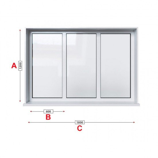 Кухненски прозорец троен Trocal ECONOMY – 70 мм