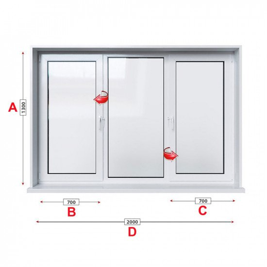 Кухненски прозорец троен Trocal ECONOMY – 70 мм с две крила