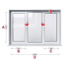 Кухненски прозорец троен Trocal Economy 70 мм с две крила 205/135 см