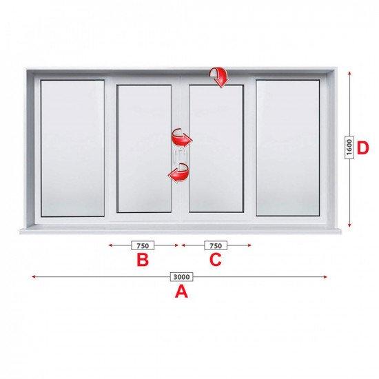 Прозорец за хол Trocal Classic 76 мм с две крила 300/160 см