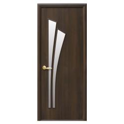 Интериорна врата със стъкло Стил Лили – цвят Кестен