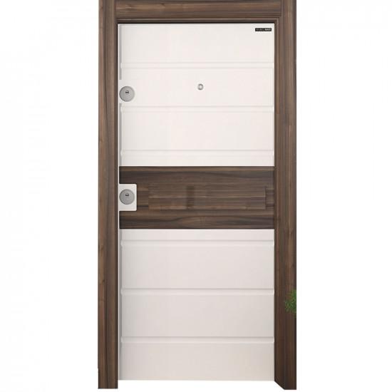 Блиндирана врата Старлайф SM05 White Matt PVC / Natural Walnut
