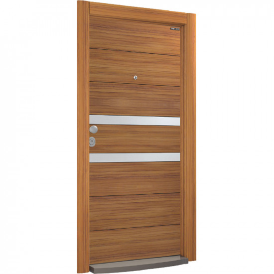 Блиндирана врата Италиански стил L 601 ABD Walnut / Inox