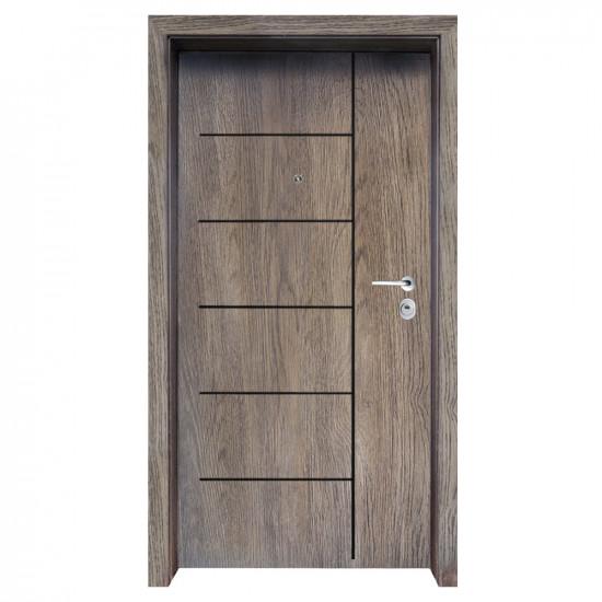Блиндирана входна врата с фрезовка - вариант 2.1, цвят Ntekape