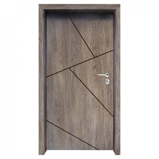 Блиндирана входна врата с фрезовка - вариант 2.3, цвят Ntekape