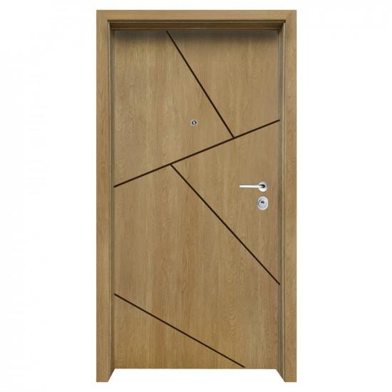 Блиндирана входна врата с фрезовка - вариант 2.3, цвят Fiamato