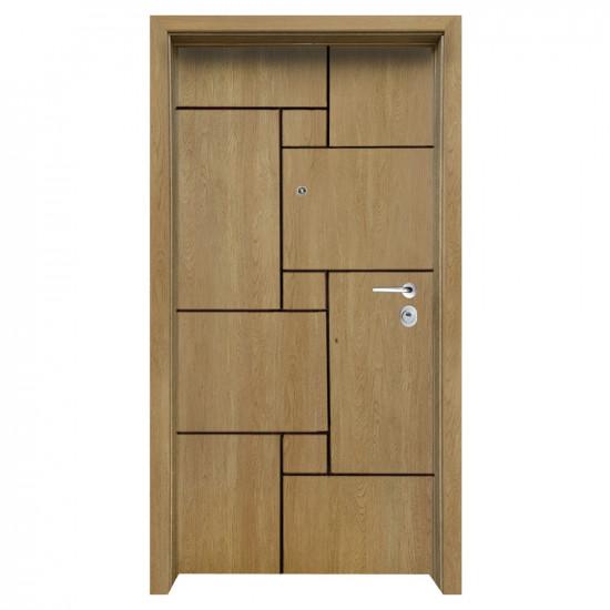 Блиндирана входна врата с фрезовка - вариант 2.4, цвят Fiamato